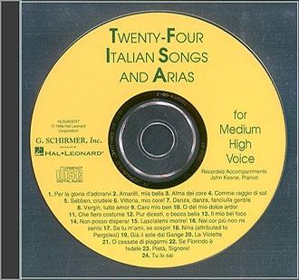 Twenty-Four  Italian Songs And Arias: Medium High: Cd Only