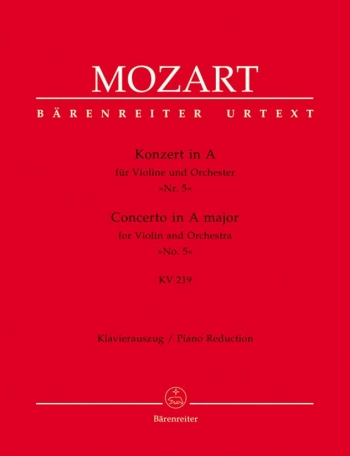 Violin Concerto No.5 A Major Kv219: Violin & Piano (Barenreiter)