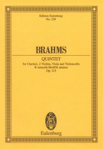 Clarinet Quintet: B Minor: Op115: Miniature Score