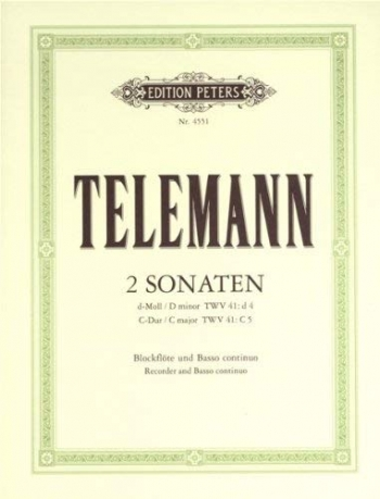 Sonatas 2: D Minor and C: Treble Recorder  Or Flute and Piano (Peters)