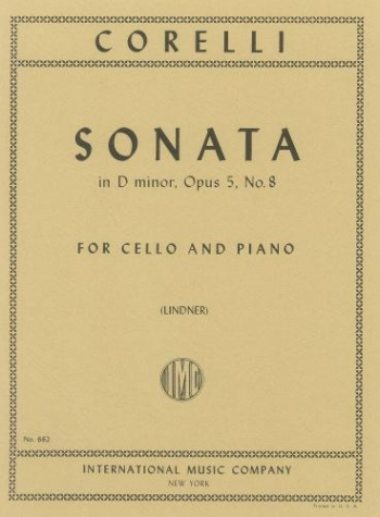 Sonata: Dminor: Op5 No.8: Cello (International)