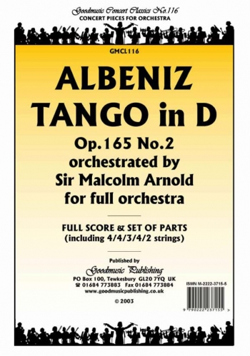 Albeniz: Tango In D Op165 No2: Orchestra: Score & Parts