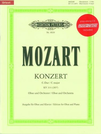 Concerto: C Major: Kv314: Oboe & Piano  Book & CD (Peters)