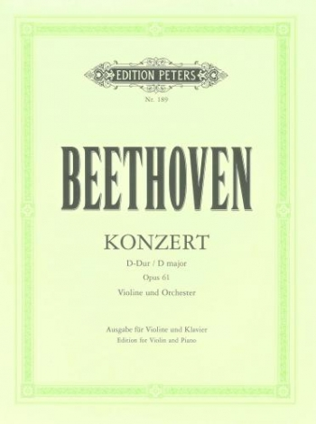 Violin Concerto D Major Op.61: Violin & Piano  (Peters)