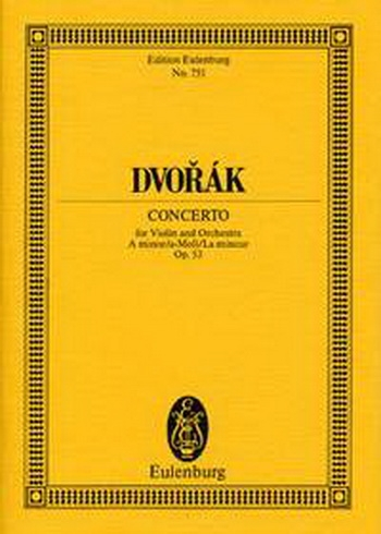 Violin Concerto: A Minor: Op53: Miniature Score