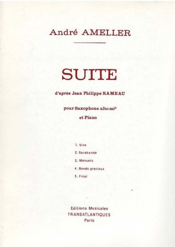 Suite D Apres Jean Philippe Rameau: Alto Saxophone