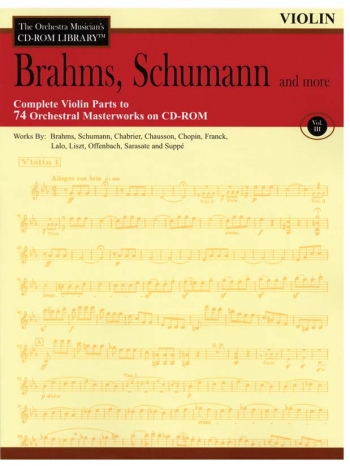 Orchestra Cd Rom Libarary: Violin 1 and 2: Vol 3: Brahms, Schumann