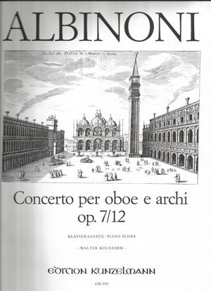 Oboe Concerto Op.7/12: Oboe & Piano (Kolneder) (Kunzelmann)