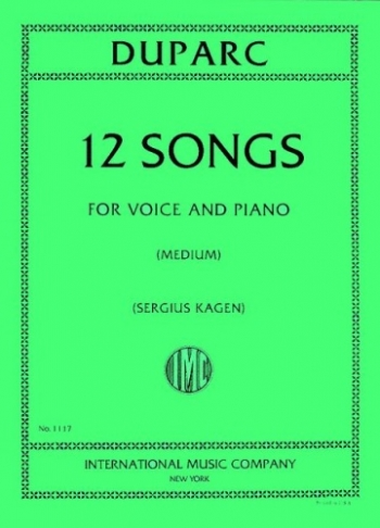 12 Songs For Medium Voice And Piano