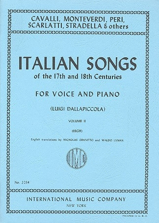 Italian Songs Of The 17th and 18th Centuries: Vol 2: High Voice and Piano (dallapiccola)