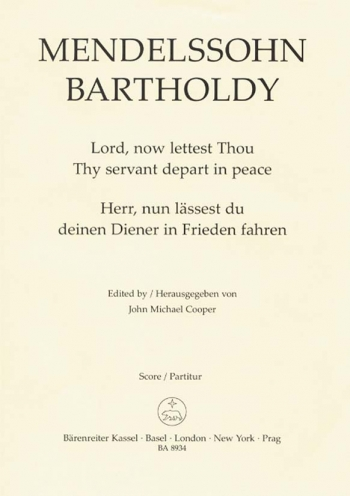 Lord Now Lettest Thou Thy Servant Depart In Peace: Vocal Score  (Barenreiter)