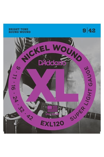 D'Addario Electric Guitar Exl120 Nickel Wound Regular Super Light 9-42