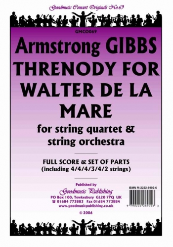 Orch: Gibbs: Threnody For Walter De L Mare: String Quartet and Orchestra: Scandpts