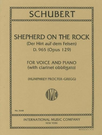 Shepherd On The Rock (Der Hirt Auf Dem Felsen) Op.129: Clarinet, Voice & Piano (IMC)