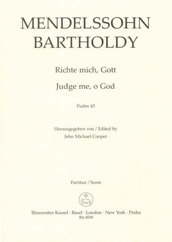 Judge Me O God: Pslm 43: Vocal Score Satb (Cooper) (Barenreiter)