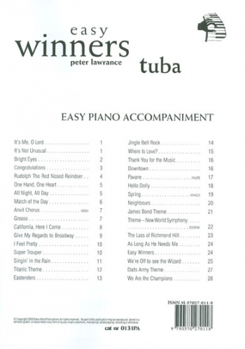 Easy Winners: Tuba : Piano Accompaniment