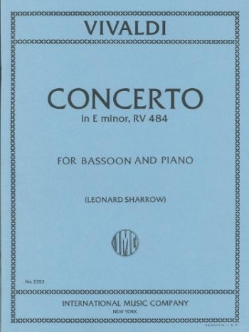 Bassoon Concerto E Minor: Rv484: Bassoon & Piano (International)