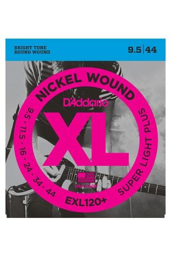 D'Addario Electric Guitar Exl120+ Nickel Wound Super Light 9.5-44
