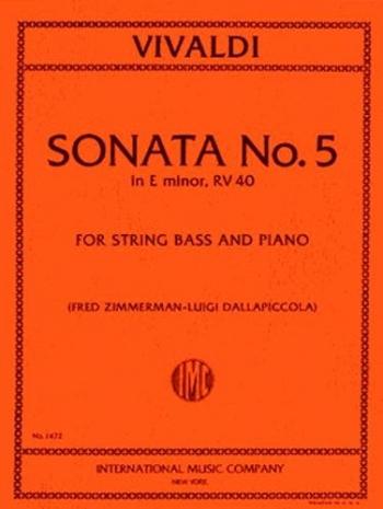 Sonata No 5 E Minor Rv40: Double Bass
