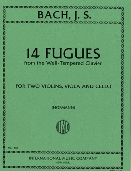 14 Fugues (from Well-Tempered Clavier): 2 Violins Viola And Cello  (hofmann)