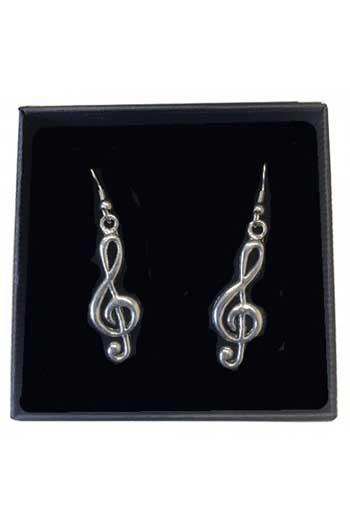 Gift: Earrings: Treble Clef:  Pewter