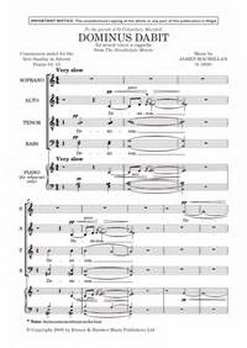 Macmillan: Dominus Dabit Benignitatem: Vocal: SATB