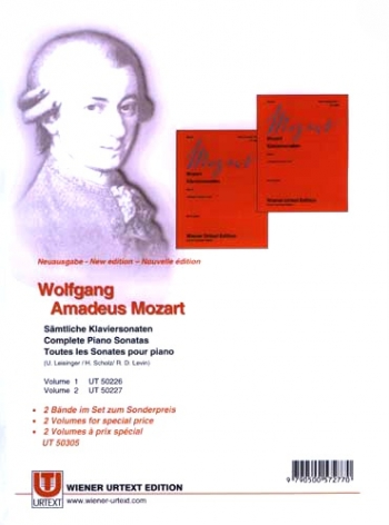 Piano Sonatas: 1 And 2 : New Edition (Vol Ut50226 And Ut50227) (Wiener Urtext)