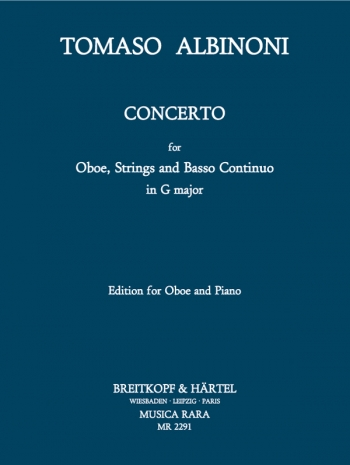 Oboe Concerto G Major Oboe & Piano (Breitkopf)