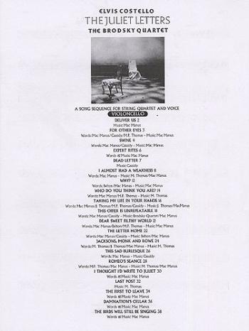 The Juliet Letters: String Quartet: String Parts (Elvis Costello)