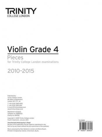 Trinity Violin Grade 4: 2010-2015: Violin Part Only