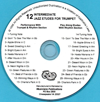 12 Intermediate Jazz Etudes for Trumpet: CD (Holcombe)