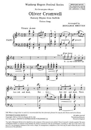 Oliver Cromwell: Unison Voice - Vocal