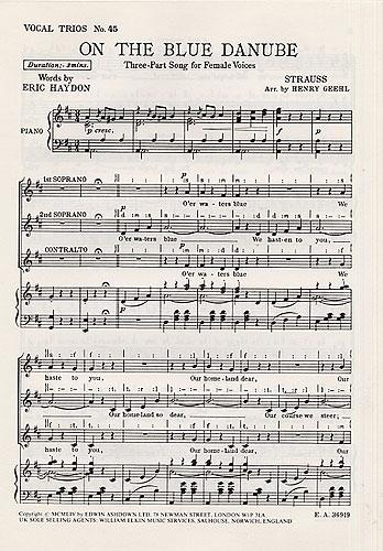 Blue Danube: Vocal SSA & Piano