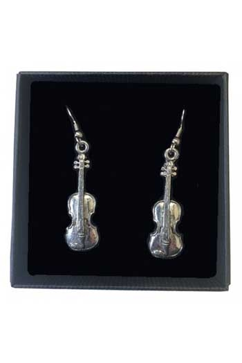 Gift: Earrings: Violins:  Pewter