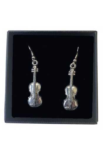 Gift: Earrings: Violins:  Pewter