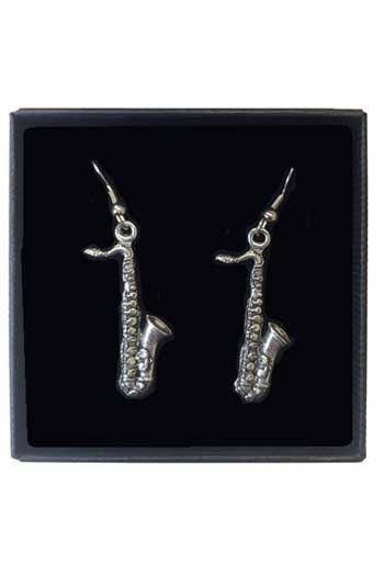 Gift: Earrings:Saxophones: Pewter