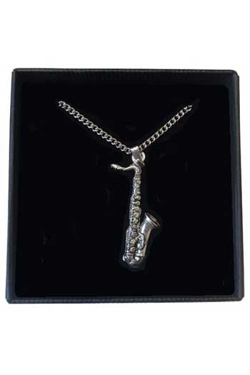 Gift: Necklace/Pendant: Saxophone: Pewter