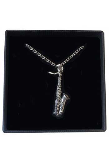 Gift: Necklace/Pendant: Saxophone: Pewter