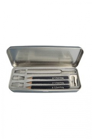 Gift - Musicians Pencil Box - Silver Box - Pencils/Rubbers/Tuning Fork/Sharpener
