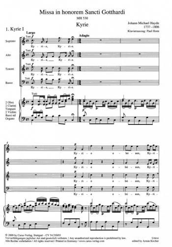 Missa In Honorem Sancti Gotthardi: Vocal Score