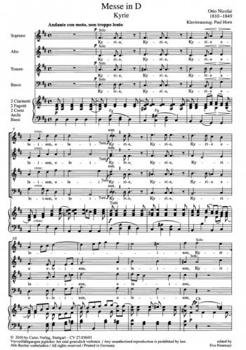 Messe In D: Vocal Score