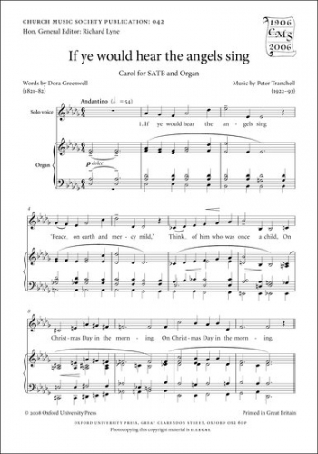 If Ye Would Hear The Angels Sing: Vocal: Satb