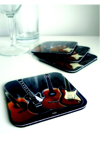 Coaster With Guitar Design
