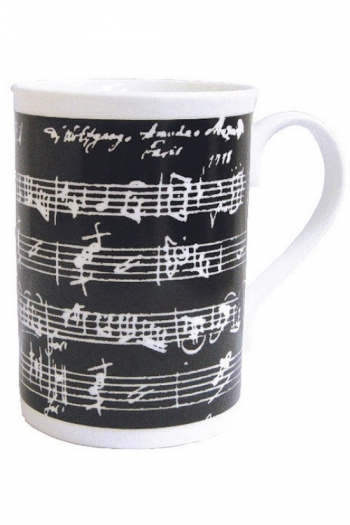 Mug Black With White Manuscript
