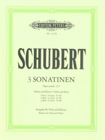 Three Sonatinen: Opus Posth 137: Viola & Piano (Peters)