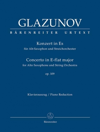 Concerto Eb Major: Op109: Saxophone And String Orchestra: Piano Reduction  (Barenreiter)