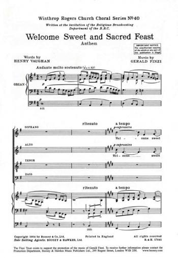 Finzi: Welcome, Sweet And Sacred Feast, Op. 27/3