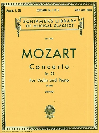 Concerto: G Major: Violin And Piano