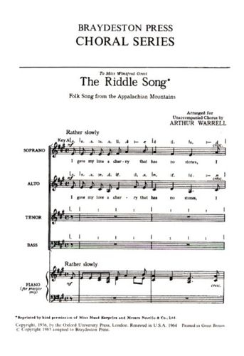 The Riddle Song: Vocal: SATB