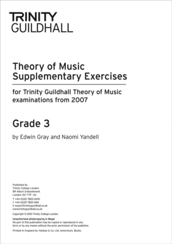 Trinity College London Theory Of Music Supplementary Exercises Papers:  Grade 3: From 2007